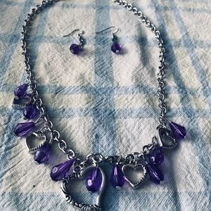 Purple and silver jewelry set